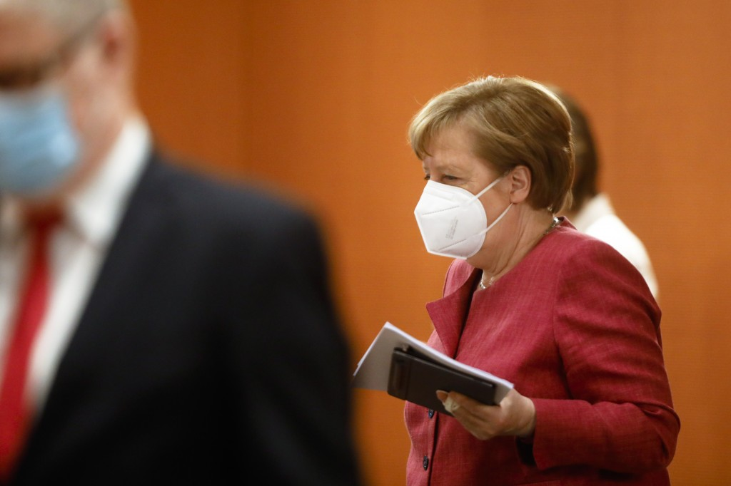 German Chancellor Angela Merkel arrives for the weekly cabinet meeting of the German government at the chancellery in Berlin, Tuesday, April 27, 2021....