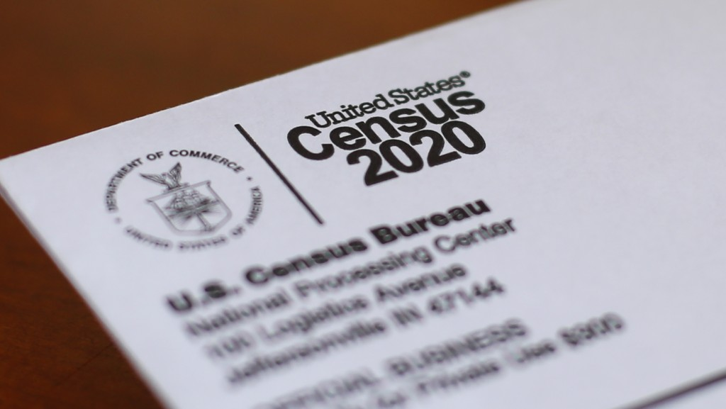 FILE - This April 5, 2020, file photo shows an envelope containing a 2020 census letter mailed to a U.S. resident in Detroit. Michigan's slow populati...