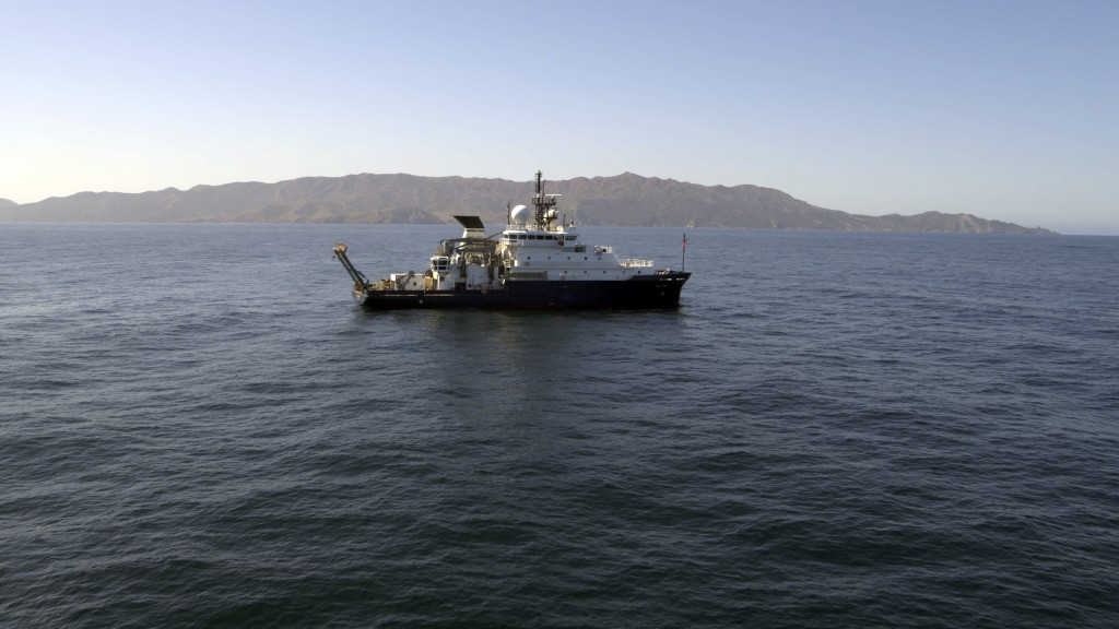 In this March 2021 image provided by Scripps Institution of Oceanography at UC San Diego, the research Vessel Sally Ride is seen off the coast of Sant...