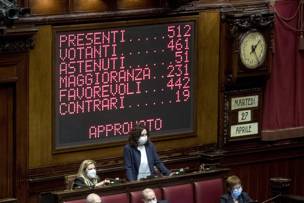 A billboard shows the results of the lawmakers' vote on the Italian Premier Mario Draghi's coronavirus recovery plan, at the Chamber of Deputies, in R...