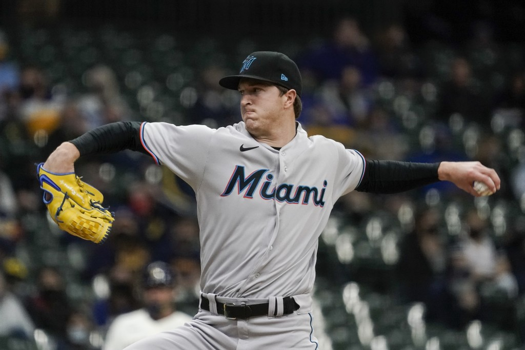 Miami Marlins starting pitcher Trevor Rogers throws during the first inning of a baseball game against the Milwaukee Brewers Monday, April 26, 2021, i...