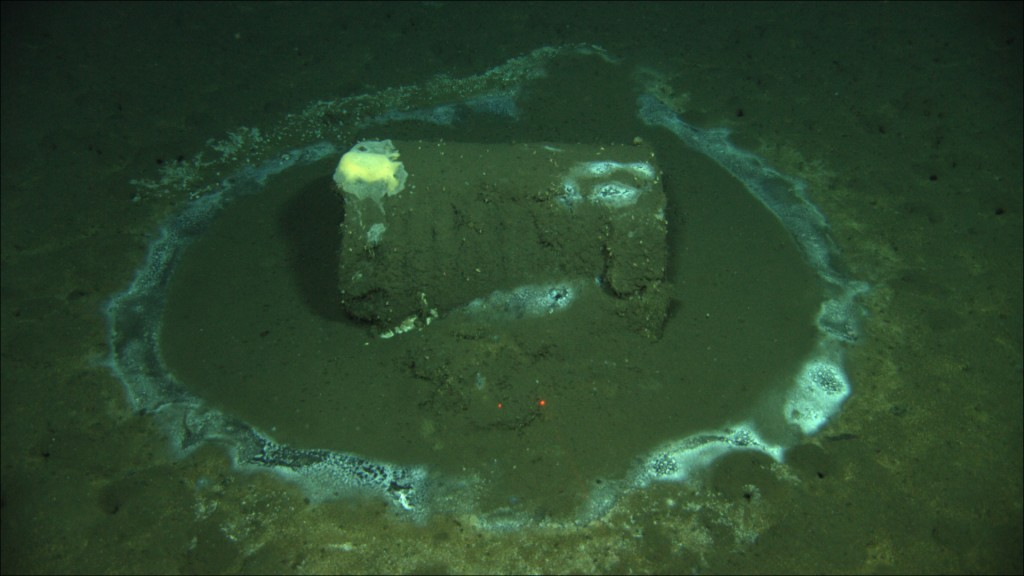 In this 2011 image provided by the University of California Santa Barbara, a barrel sits on the seafloor near the coast of Catalina Island, Calif. Mar...