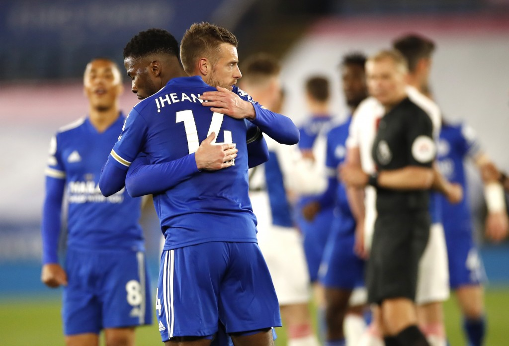 Leicester's Kelechi Iheanacho and Jamie Vardy celebrate at the end of the English Premier League soccer match between Leicester City and Crystal Palac...