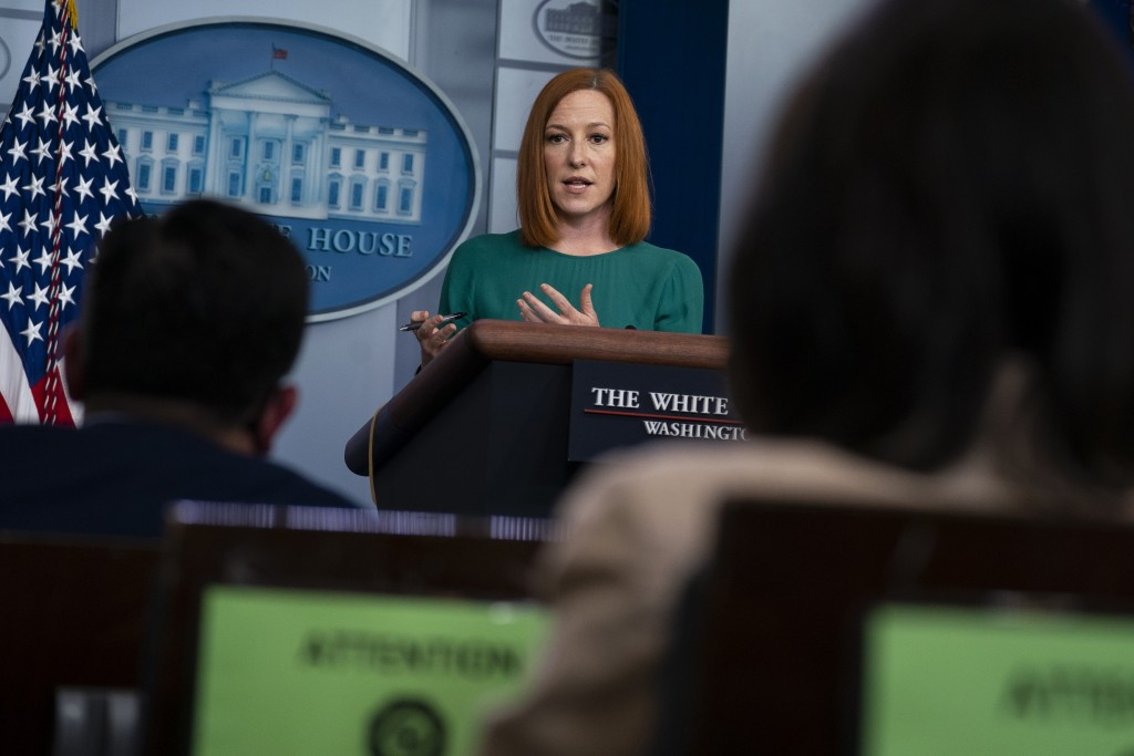 White House press secretary Jen Psaki speaks during a press briefing at the White House, Tuesday, April 27, 2021, in Washington. (AP Photo/Evan Vucci)