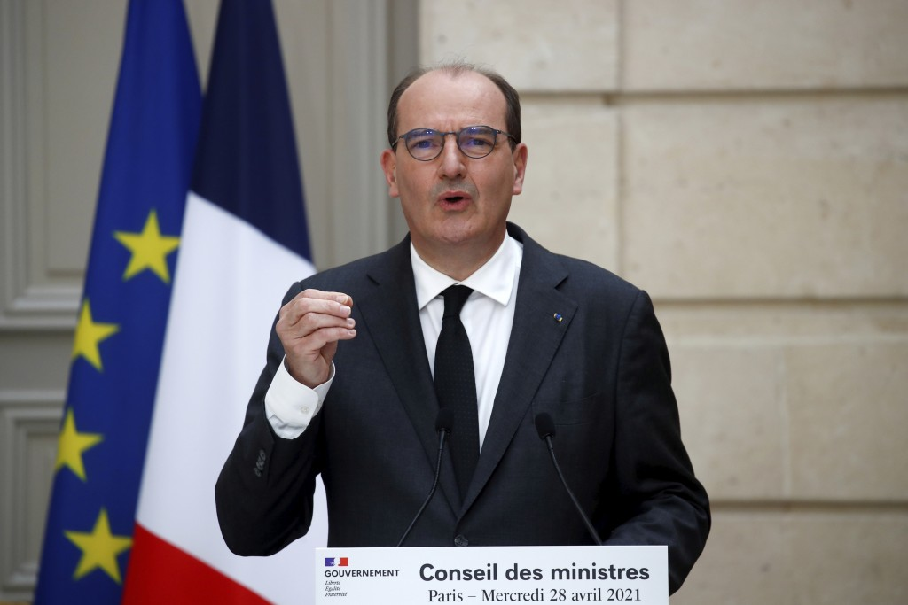 French Prime Minister Jean Castex speaks during a news conference following the weekly cabinet meeting discussions at the Elysee Palace in Paris, Fran...