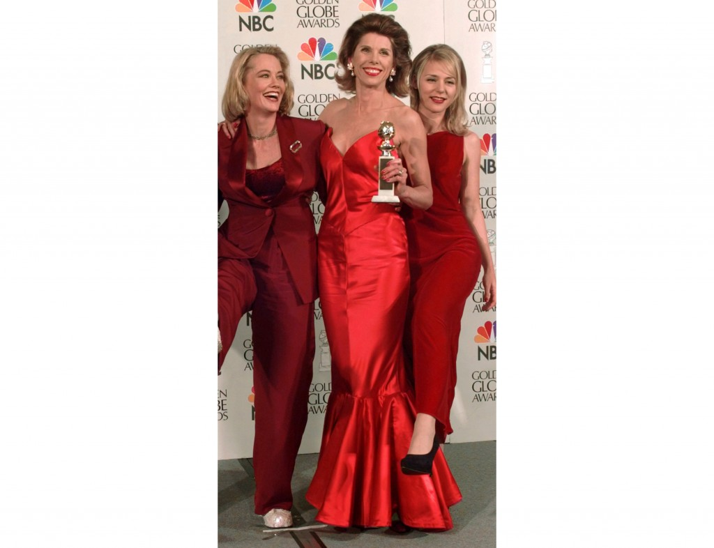 """FILE - Cast members from """"Cybill,"""" from left, Cybill Shepherd, Christine Baranski and DeeDee Pfeiffer appear at the Golden Globe Awards in Beverly Hil..."""