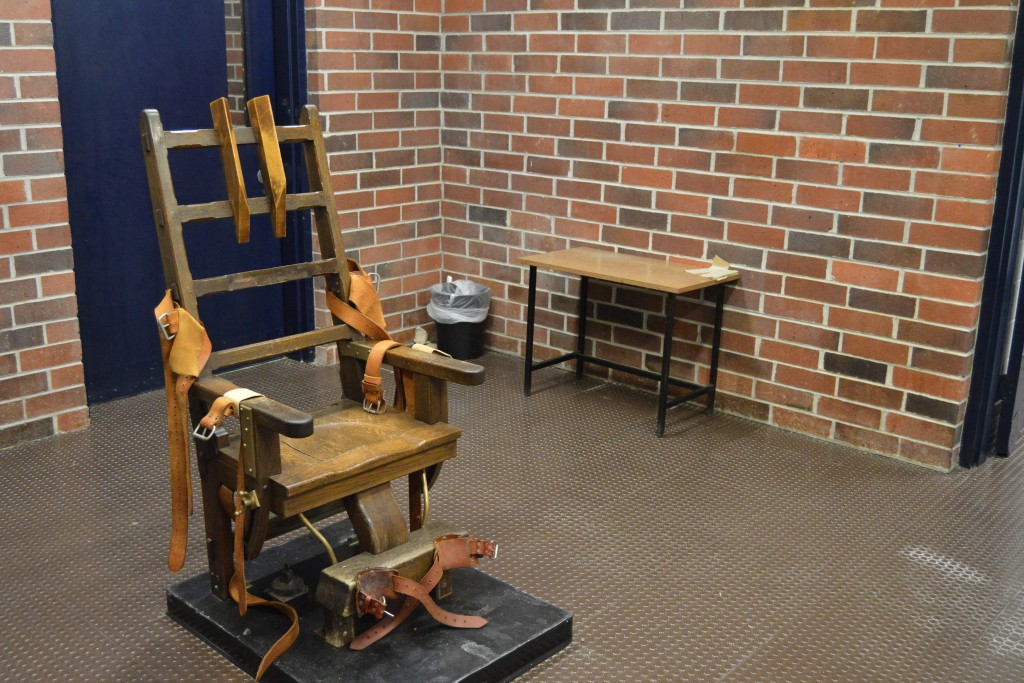 FILE - This March 2019, file photo, provided by the South Carolina Department of Corrections shows the state's electric chair in Columbia, S.C. South ...