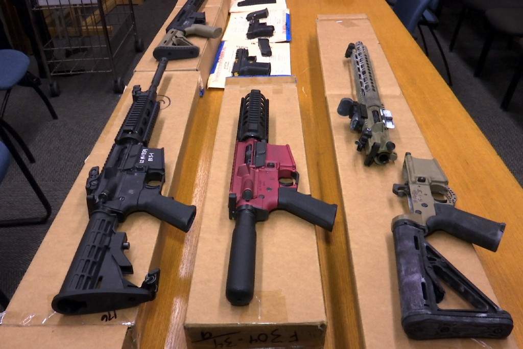 """FILE - This Nov. 27, 2019, file photo shows """"ghost guns"""" on display at the headquarters of the San Francisco Police Department in San Francisco. A fed..."""