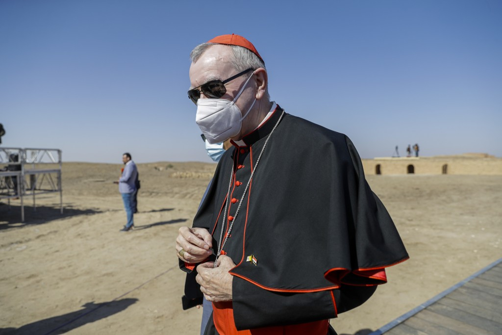 FILE - In this file photo taken on March 6, 2021, Vatican Secretary of State Cardinal Pietro Parolin arrives ahead of an interreligious meeting with P...