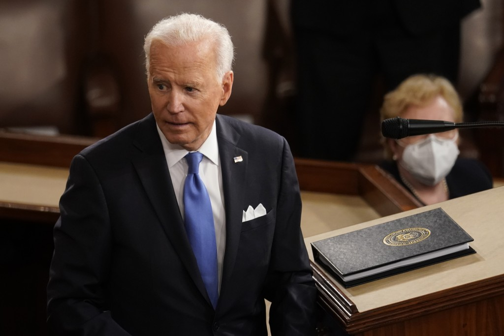 President Joe Biden turns from the podium after speaking to a joint session of Congress Wednesday, April 28, 2021, in the House Chamber at the U.S. Ca...