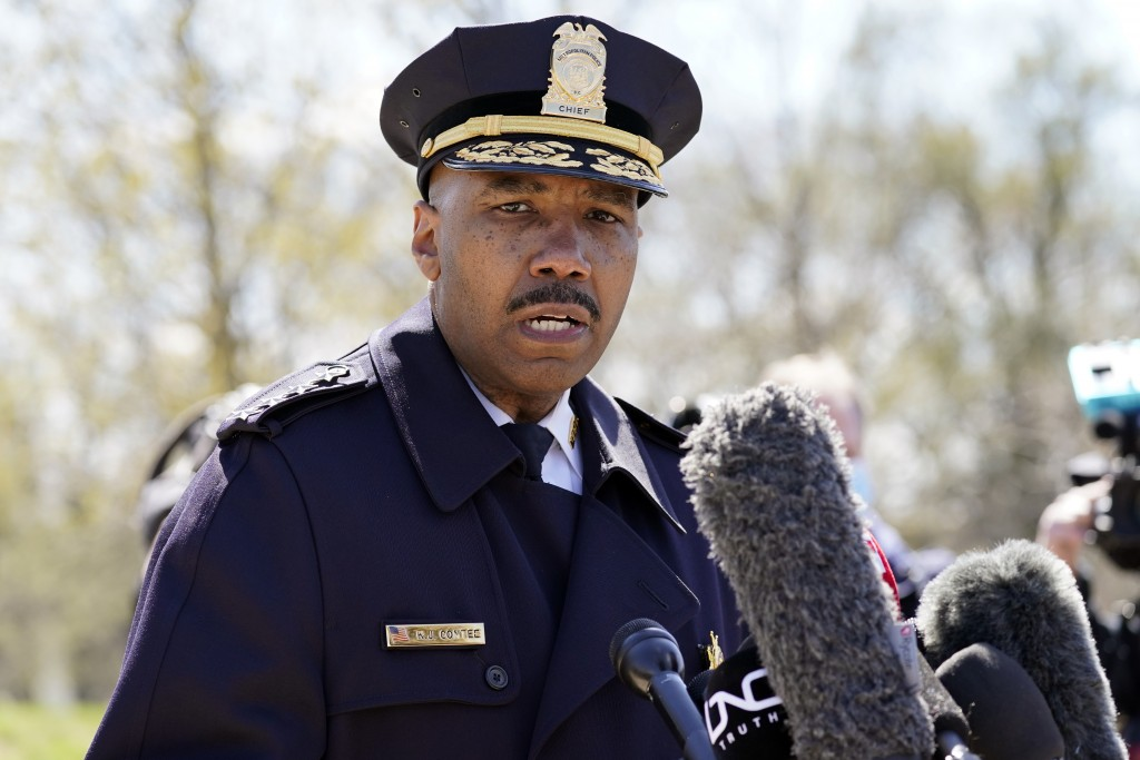 FILE - In this April 2, 2021, file photo, Washington Metropolitan Police Department chief Robert Contee speaks during a news conference in Washington....