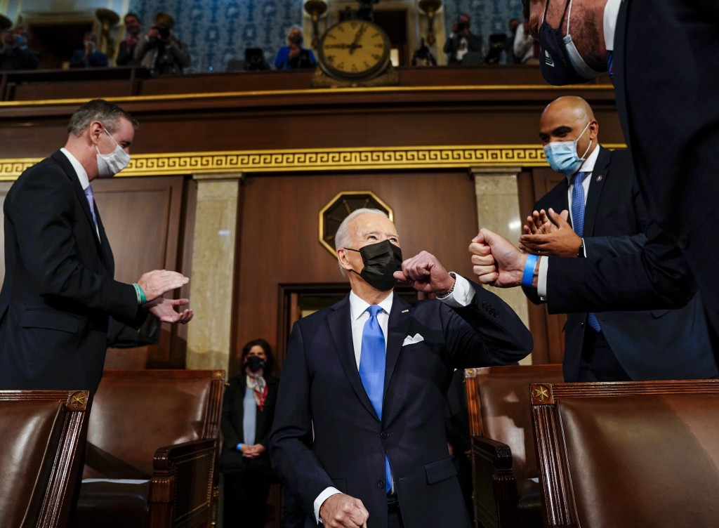 President Joe Biden arrives to speak to a joint session of Congress, Wednesday, April 28, 2021, in the House Chamber at the U.S. Capitol in Washington...