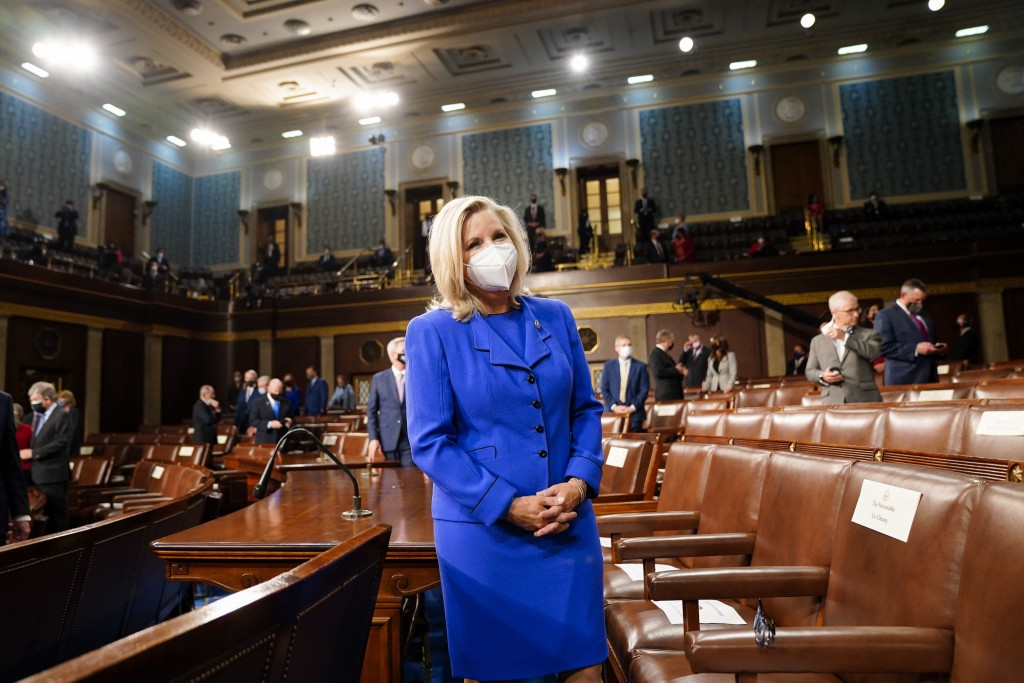 Rep. Liz Cheney, R-Wyo., arrives to the chamber ahead of President Joe Biden speaking to a joint session of Congress, Wednesday, April 28, 2021, in th...