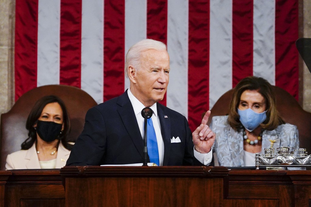 President Joe Biden addresses a joint session of Congress, Wednesday, April 28, 2021, in the House Chamber at the U.S. Capitol in Washington, as Vice ...