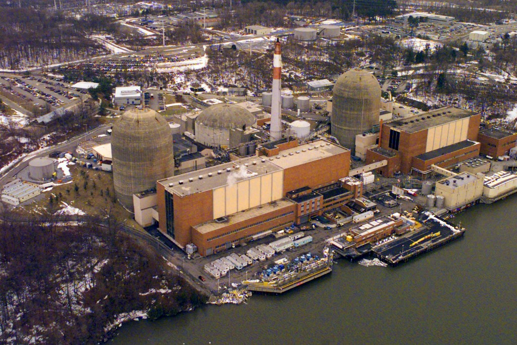 FILE - This Feb 16, 2000, file photo shows the Indian Point Energy Center, in Buchanan, N.Y. Indian Point will permanently stop producing nuclear powe...