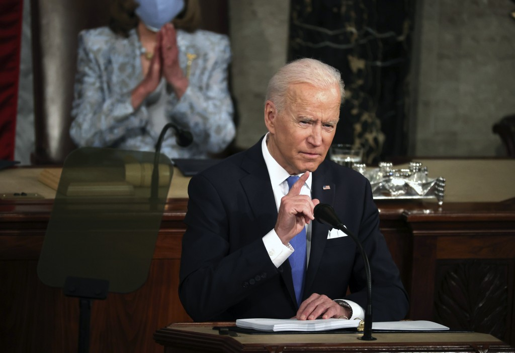 President Joe Biden addresses a joint session of Congress, Wednesday, April 28, 2021, in the House Chamber at the U.S. Capitol in Washington. (Chip So...