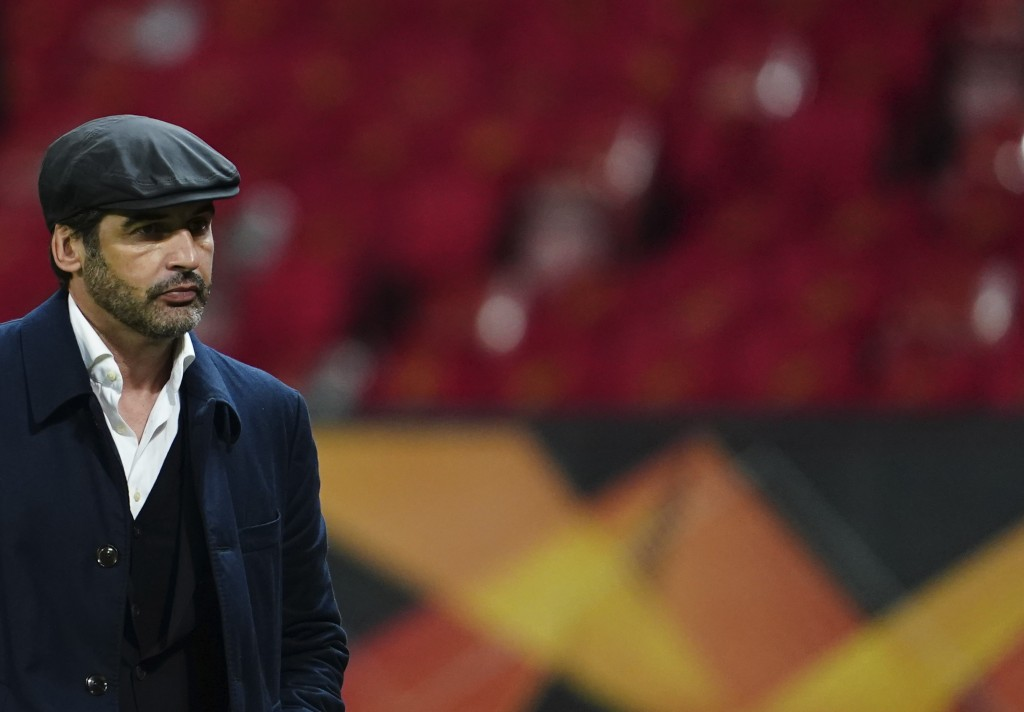 Roma's head coach Paulo Fonseca leaves the pitch at the end of the Europa League semi final, first leg soccer match between Manchester United and Roma...