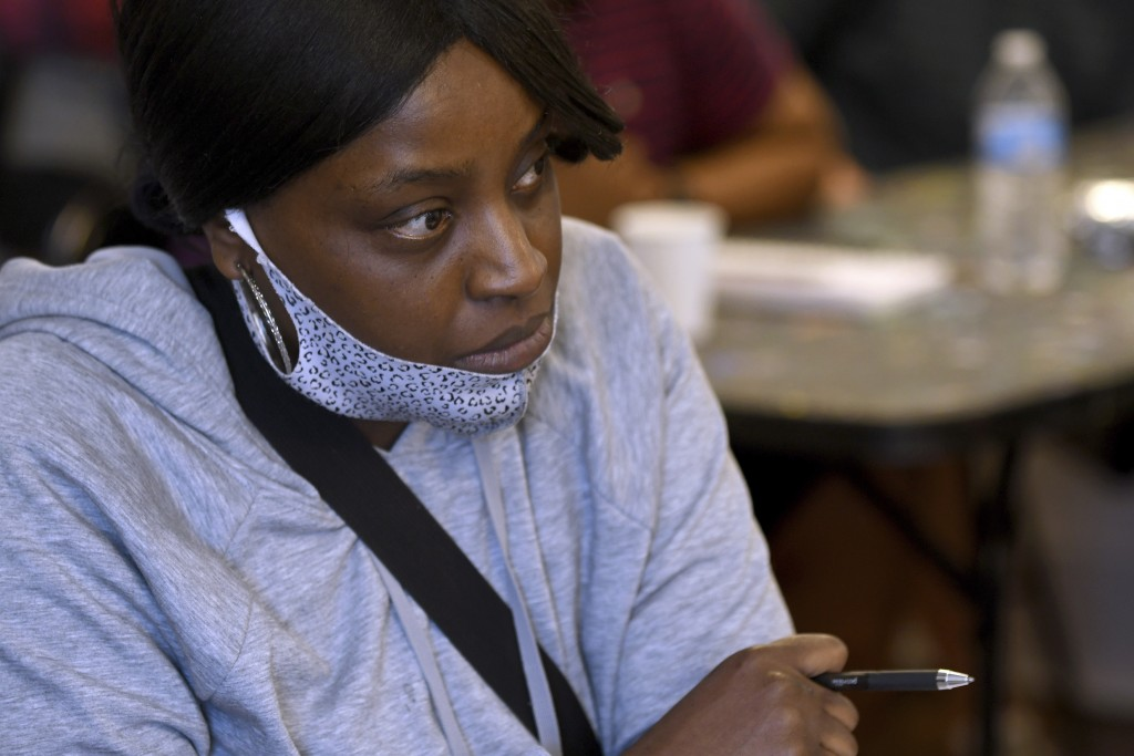 Desiree Humphrey attends a marijuana social equity class in Denver on Saturday, April 3, 2021. The class, run by the advocacy group The Color of Canna...