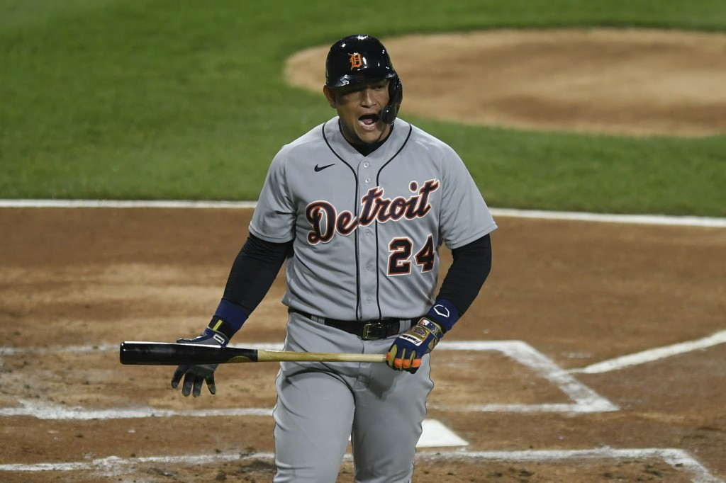 Detroit Tigers' Miguel Cabrera reacts after striking out during the first inning of the second baseball game of a doubleheader against the Chicago Whi...