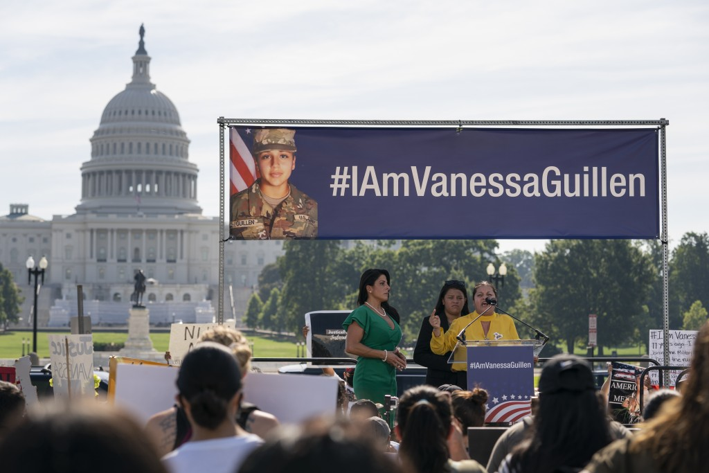 FILE - In this July 30, 2020, file photo slain Army Spc. Vanessa Guillen's mother Gloria Guillen, right, joined by Vanessa's sister Lupe Guillen, cent...