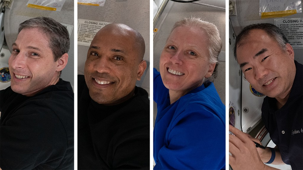 This photo combination provided by NASA shows from left,  Expedition 64 Flight Engineers and SpaceX Crew-1 members Michael Hopkins, Victor Glover, Sha...