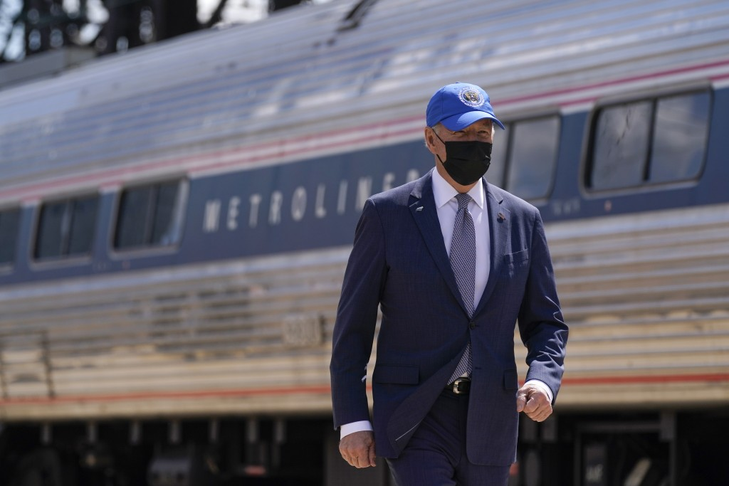 President Joe Biden arrives to speak at an event to mark Amtrak's 50th anniversary at 30th Street Station in Philadelphia, Friday, April 30, 2021. (AP...