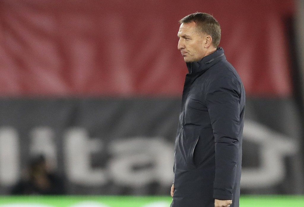 Leicester's head coach Brendan Rodgers walks on the pitch at the end of the English Premier League soccer match between Southampton and Leicester City...