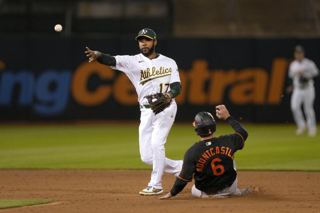 Oakland Athletics shortstop Elvis Andrus (17) throws to first base after forcing to Baltimore Orioles' Ryan Mountcastle (6) for the double play during...