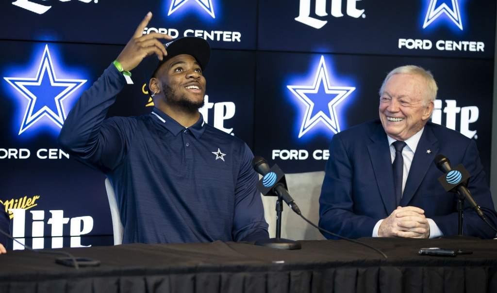 Dallas Cowboys first-round draft pick linebacker Micah Parsons, left, and Dallas Cowboys owner Jerry Jones speak to the media at the Dallas Cowboys he...