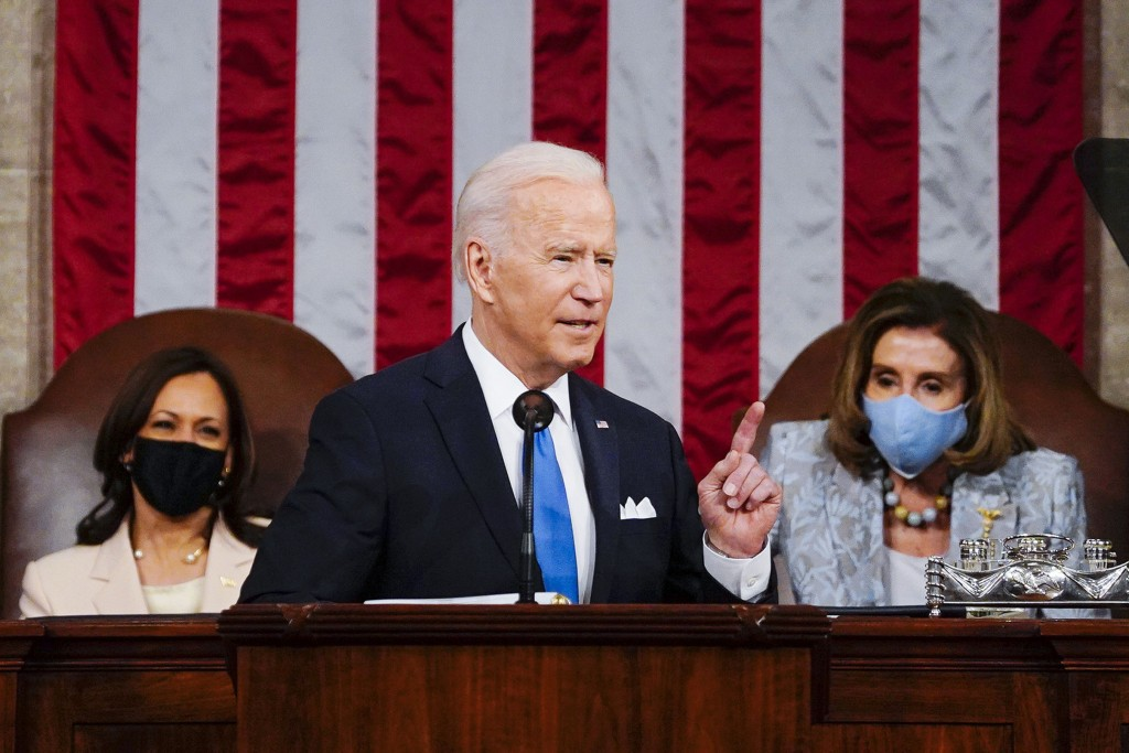 FILE - In this April 28, 2021, file photo President Joe Biden addresses a joint session of Congress in the House Chamber at the U.S. Capitol in Washin...