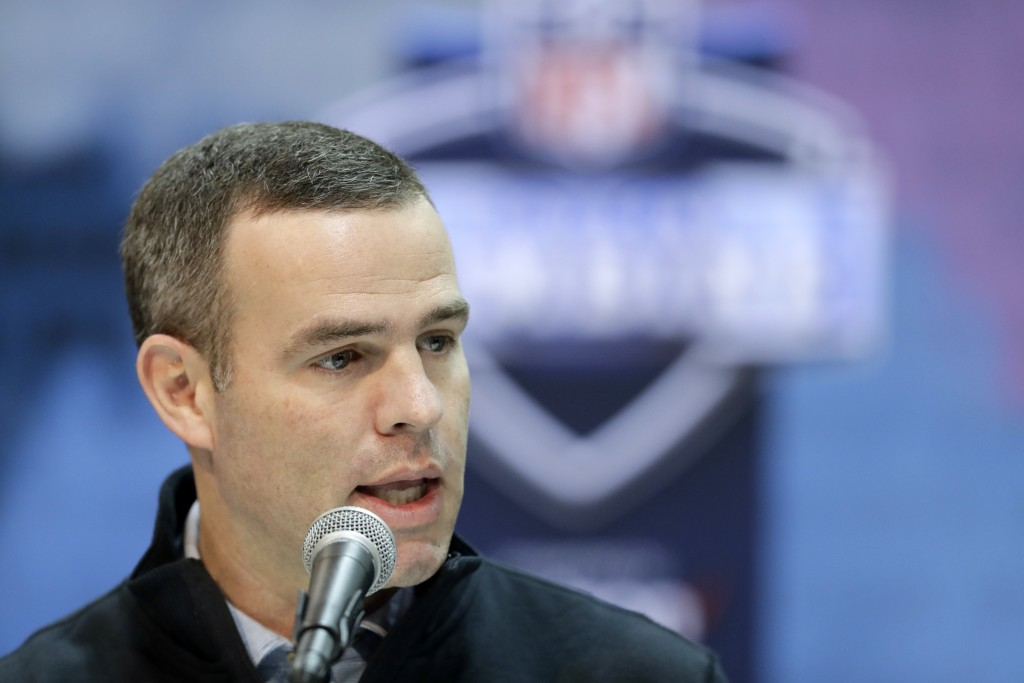 FILE - In this Feb. 28, 2019, file photo,Buffalo Bills general manager Brandon Beane speaks during a press conference at the NFL football scouting co...