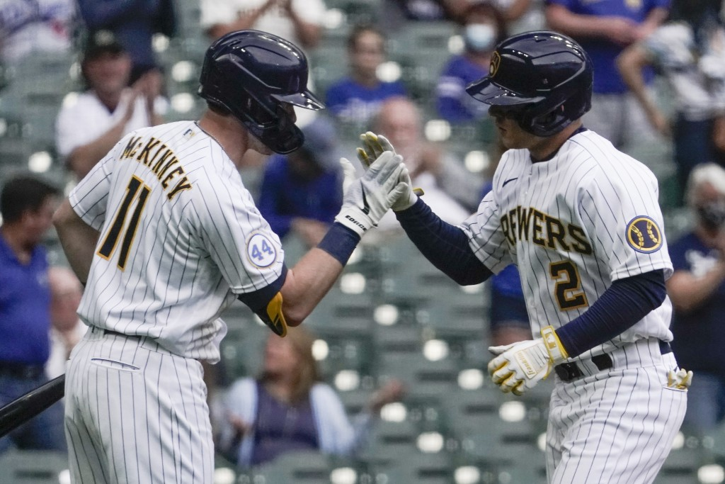 Milwaukee Brewers' Luis Urias is congratulated by Billy McKinney (11) after hitting a home run during the second inning of a baseball game against the...