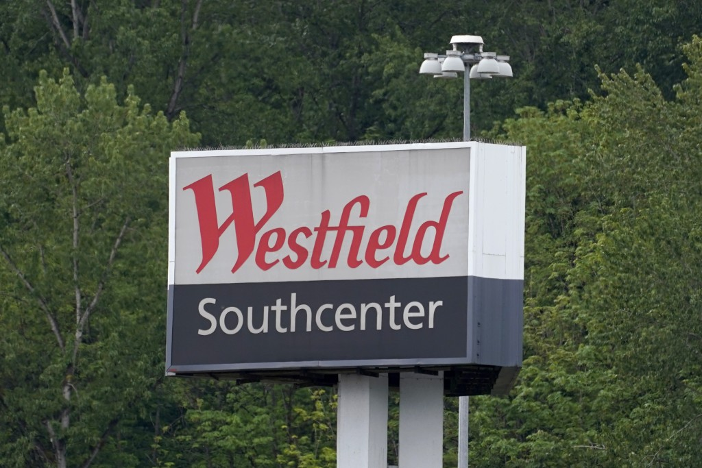 A sign for the Westfield Southcenter Mall is shown after the shopping center was evacuated following a reported shooting, Saturday, May 1, 2021, in Tu...