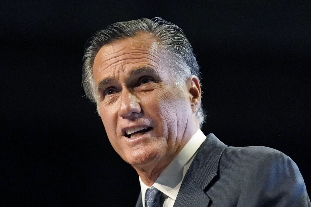 Sen. Mitt Romney addresses the Utah Republican Party 2021 Organizing Convention Saturday, May 1, 2021, in West Valley City, Utah. Romney was booed as ...