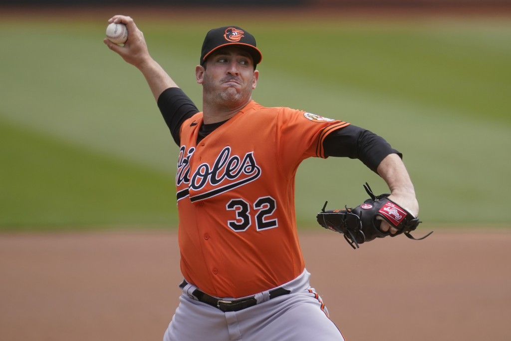 Baltimore Orioles Matt Harvey pitches against the Oakland Athletics during the first inning of a baseball game in Oakland, Calif., Saturday, May 1, 20...