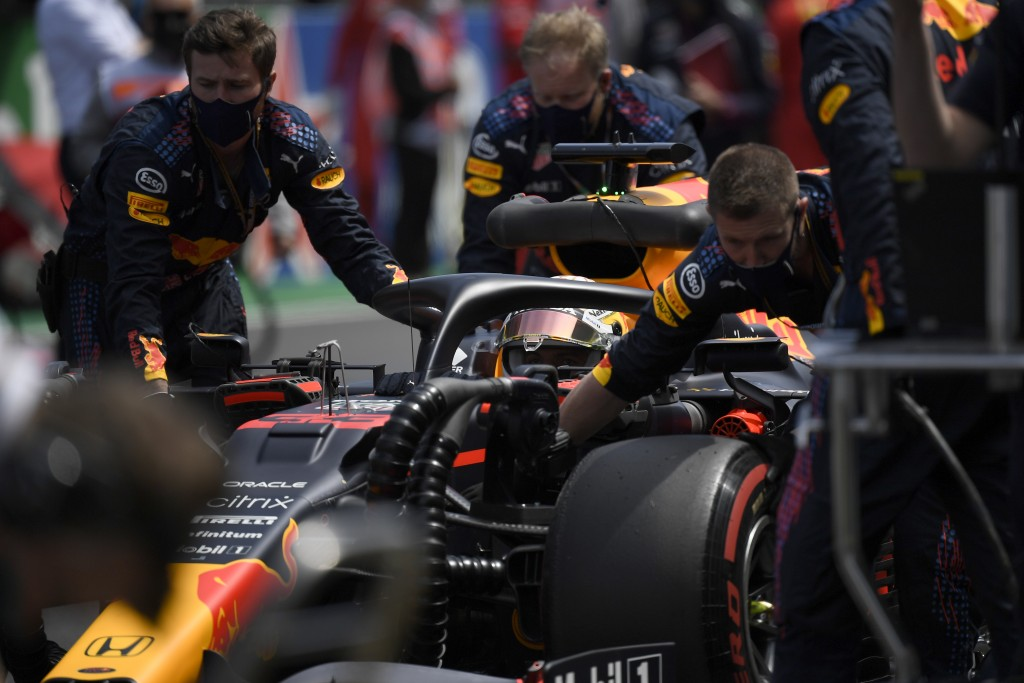 Red Bull driver Max Verstappen of the Netherlands has his car readied on the grid before the start of the Portugal Formula One Grand Prix at the Algar...