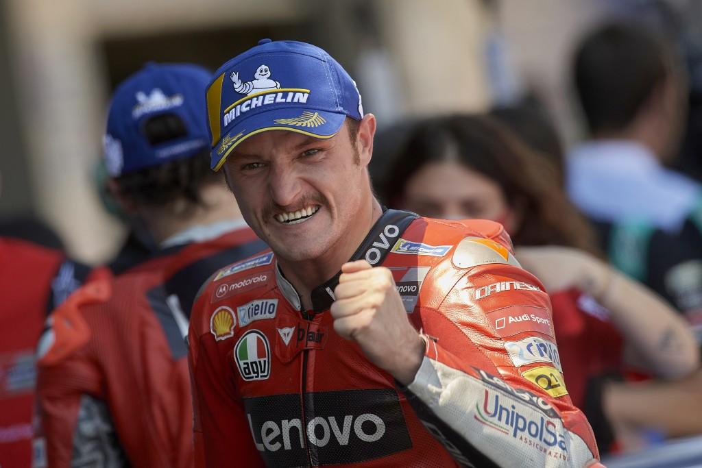 Australian rider Jack Miller celebrates victory after the MotoGP Spanish Motorcycle Grand Prix at the Angel Nieto racetrack in Jerez de la Frontera, S...