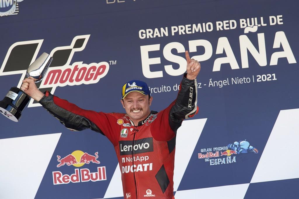 Australian rider Jack Miller celebrates his victory after the MotoGP Spanish Motorcycle Grand Prix at the Angel Nieto racetrack in Jerez de la Fronter...