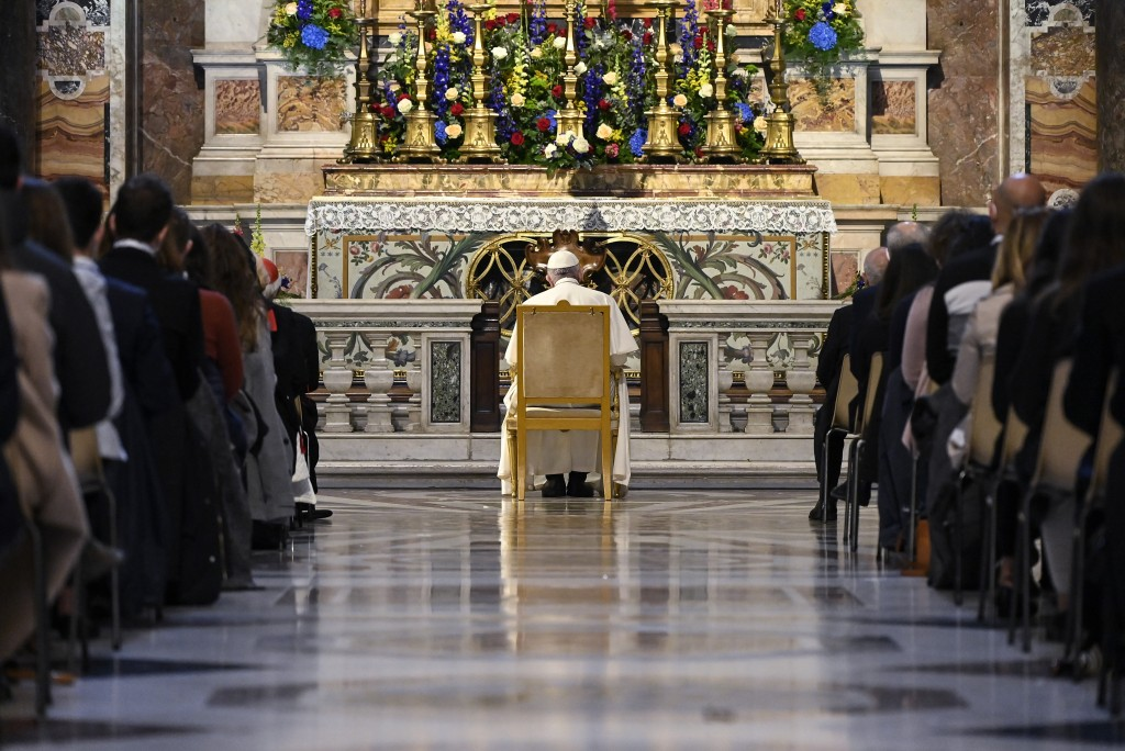 Pope Francis prays in the Gregorian Chapel in St. Peter's Basilica at the Vatican, Saturday, May 1, 2021. Pope Francis led a special prayer service Sa...