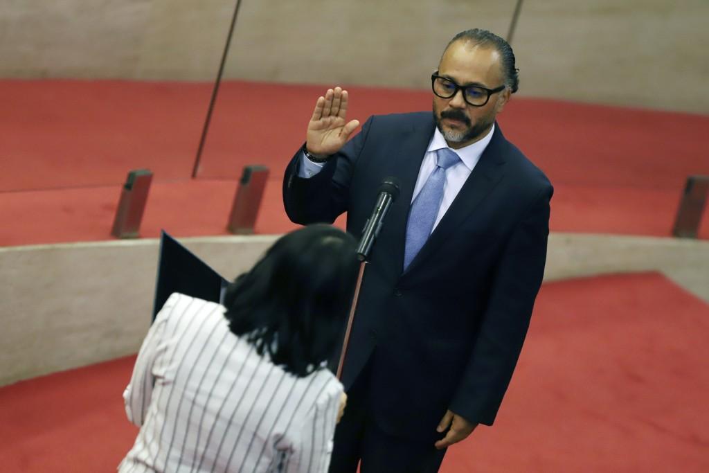 New Ideas party lawmaker Ernesto Castro is sworn-in as president of the El Salvador's Congress in San Salvador, El Salvador, Saturday, May 1, 2021. Fo...