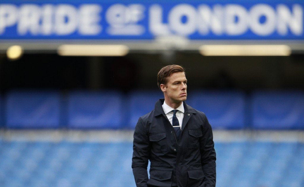 Fulham's manager Scott Parker looks out during warm up before the English Premier League soccer match between Chelsea and Fulham at Stamford Bridge St...