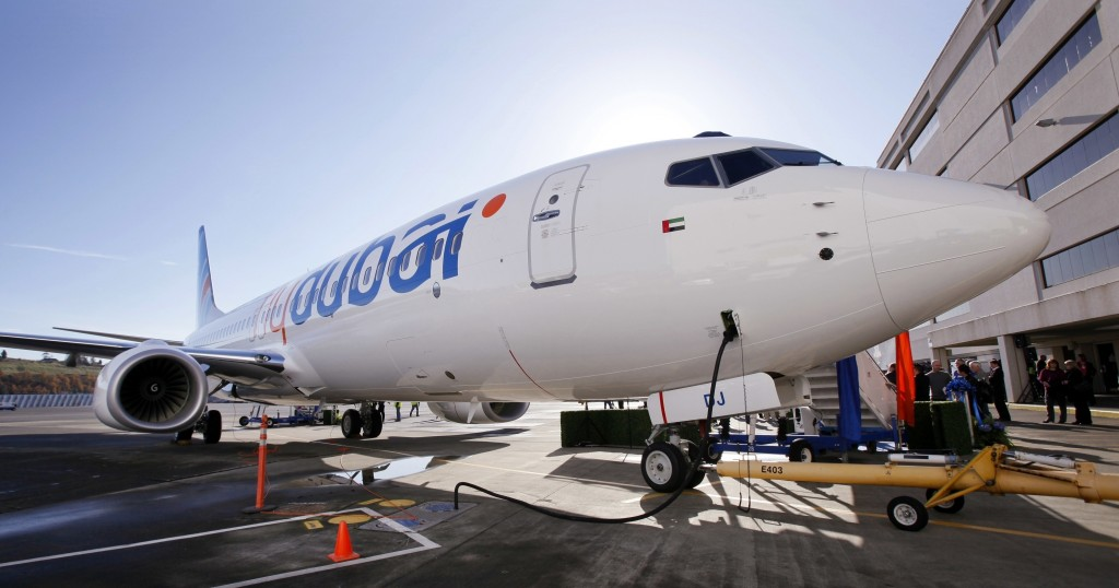 FILE - This Oct. 27, 2010 file photo, shows a Boeing 737 being delivered to flydubai in Seattle, Washington. Dubai's budget carrier flydubai reported ...