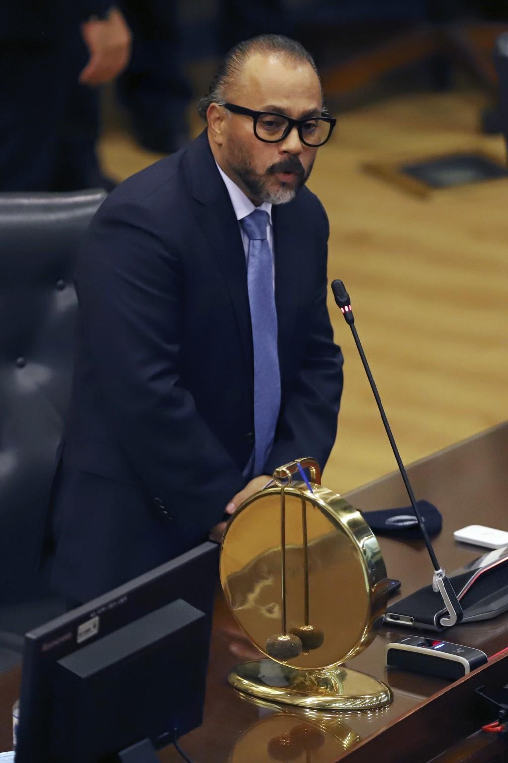 New Ideas party lawmaker Ernesto Castro delivers his speech after sworn-in as president of the El Salvador's Congress in San Salvador, El Salvador, Sa...