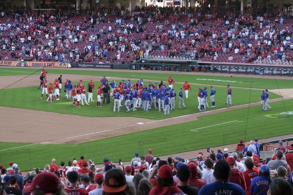 Players from both teams come onto the field in the eighth inning during a baseball game between the Chicago Cubs and the Cincinnati Reds in Cincinnati...