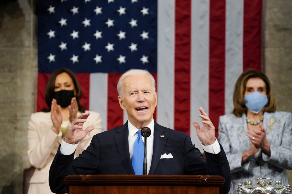 FILE - In this Wednesday, April 28, 2021, file photo, U.S. President Joe Biden addresses a joint session of Congress in the House Chamber at the U.S. ...