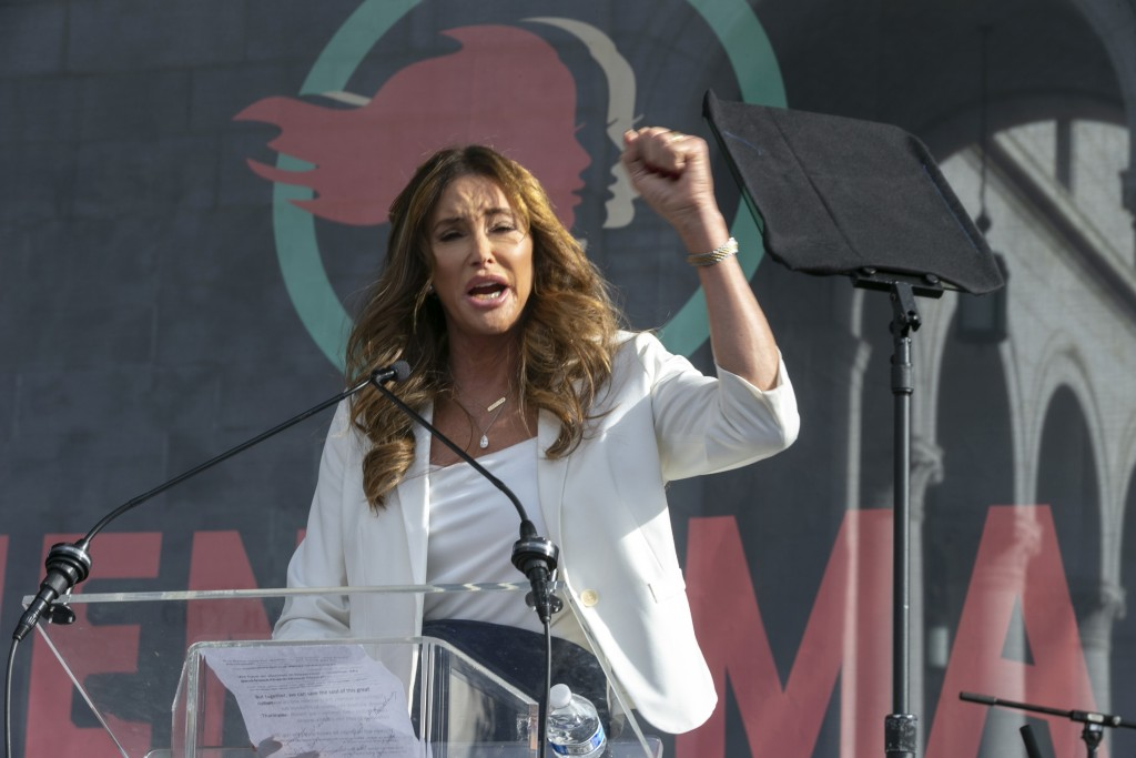 FILE - In this Jan. 18, 2020, file photo, Caitlyn Jenner speaks at the 4th Women's March in Los Angeles. Former Olympian Jenner is running for governo...
