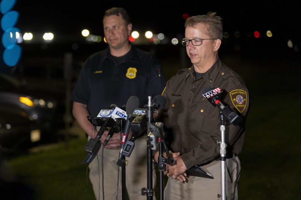Lt. Kevin Pawlak of the Brown County Sheriff's Office talks to the media about a shooting incident with multiple fatalities at the Oneida Casino near ...