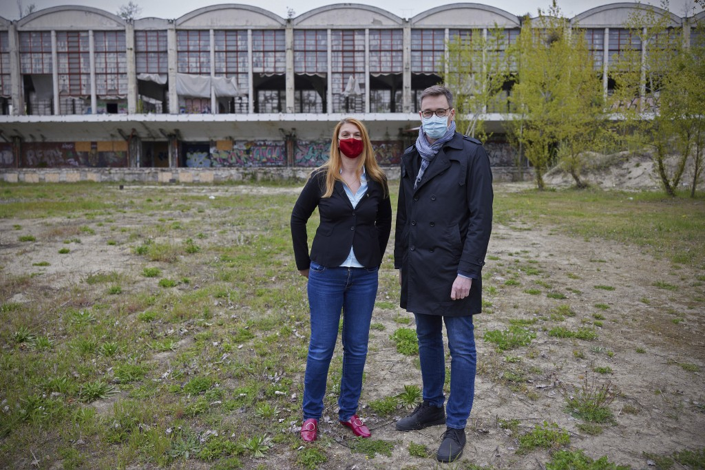 Gergely Karacsony, mayor of Budapest (right),and Krisztina Baranyi, mayor of Budapest's 9th district, pose together at the planned site of t...