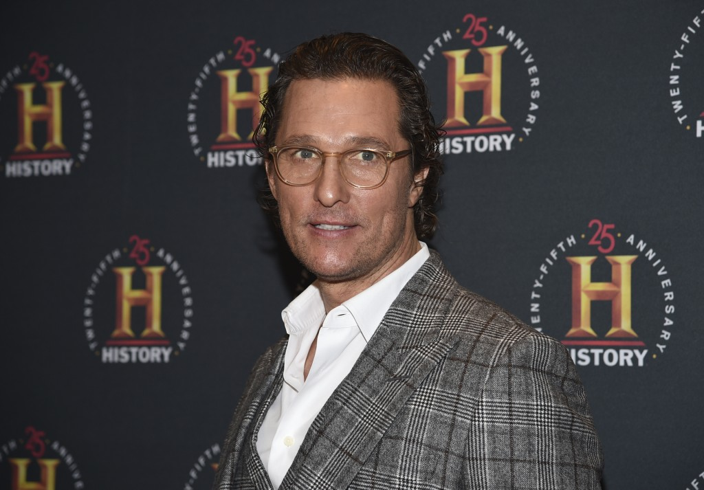 """FILE - In this Feb. 29, 2020, file photo actor Matthew McConaughey attends A+E Network's """"HISTORYTalks: Leadership and Legacy"""" in New York. McConaughe..."""