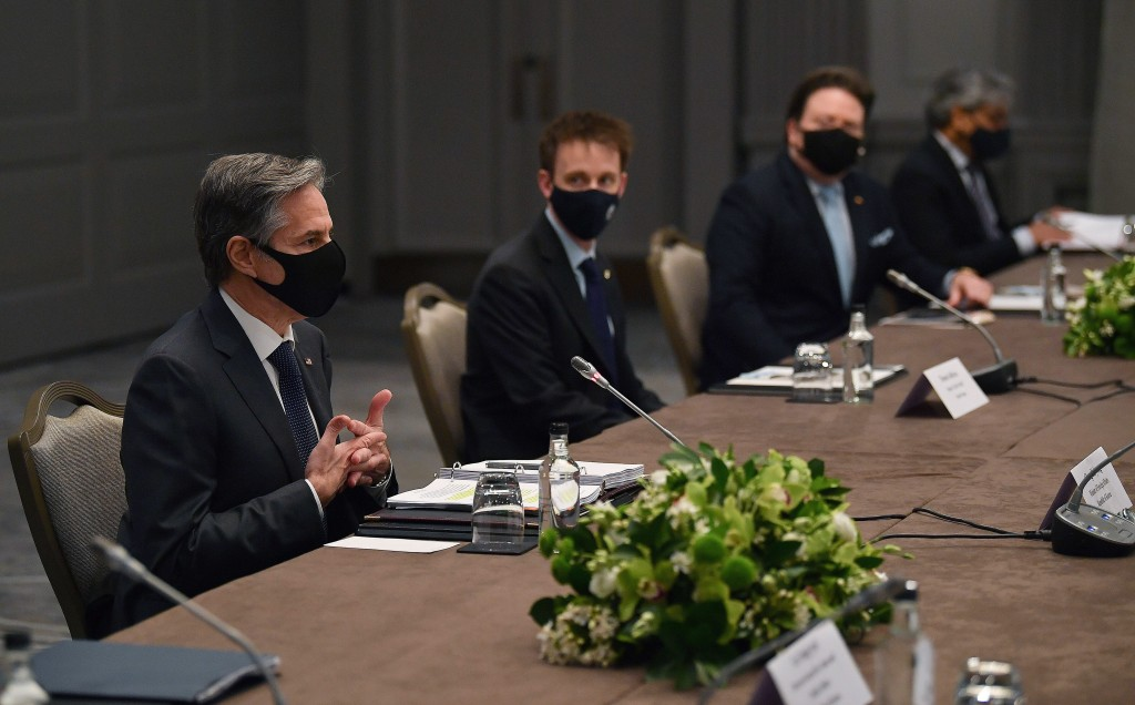 United States Secretary of State Antony Blinken, wearing a face mask to curb the spread of coronavirus, speaks to South Korea's Foreign Minister Chung...